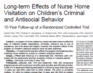 evidence for nurse home visitation