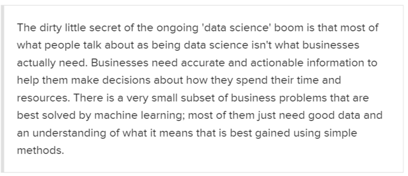data science not creating business vlue