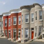 photo of row of townhouses seen through fisheye camera lens